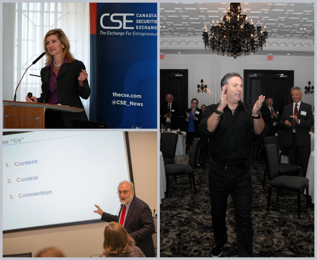 Taylor Thoen of BTV (top left); Tony Herrling of Brainerd Communications (bottom left) and Marc Gordon of Fourword Marketing (right) at CSE Day events in Vancouver, New York and Toronto