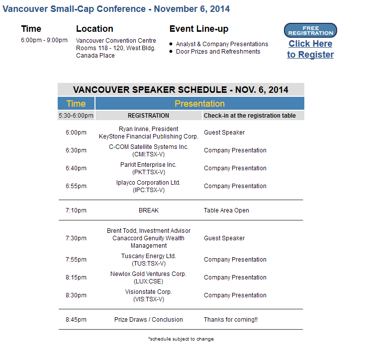 SmallCapConferenceSchedule_VancouverFall2014