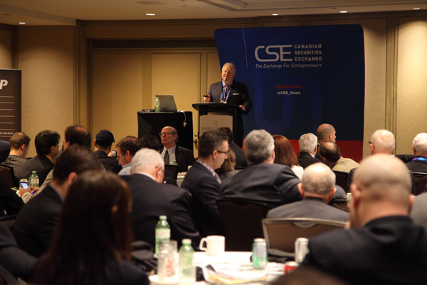 CEO of the Canadian Securities Exchange addresses attendees at the PDAC luncheon.
