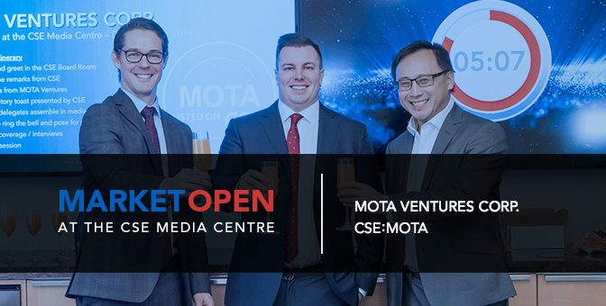 Mota Ventures Corp. Opens the Market at the CSE Media Centre