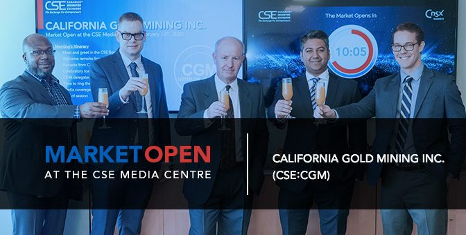 California Gold Mining Inc. Opens the Market at the CSE Media Centre